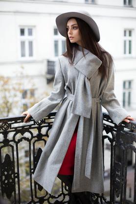 Płaszcz wełniany jasno szary PROJEKTANT VerityHunt