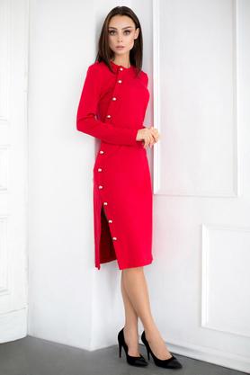 Sukienka z rozcięciem czerwona PROJEKTANT VerityHunt