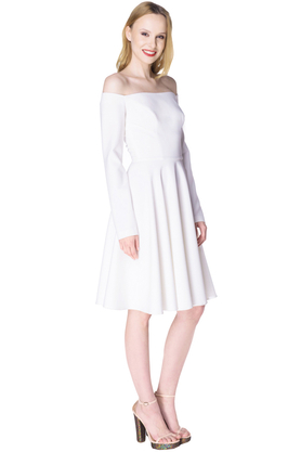 Sukienka łódka długi rękaw biała PROJEKTANT Inspiracja Butik