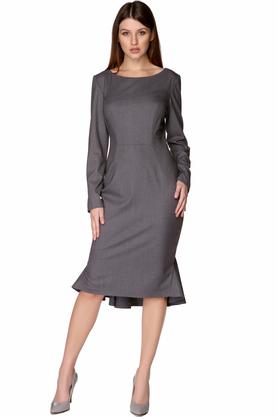 Sukienka ołówkowa z długim rękawem szara PROJEKTANT Rina Cossack