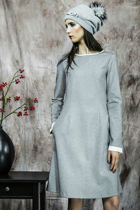 Sukienka popielata z białym mankietem PROJEKTANT Kasia Miciak