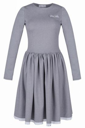Sukienka rozkloszowana z haftowaną koronką szara PROJEKTANT Kasia Miciak