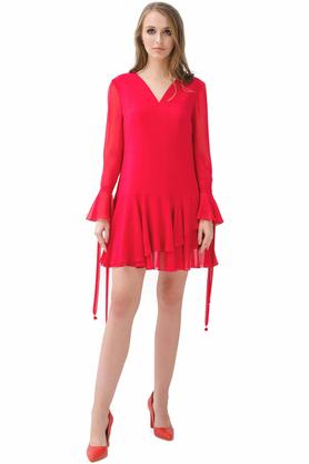 Sukienka trapezowa malinowa PROJEKTANT Rina Cossack
