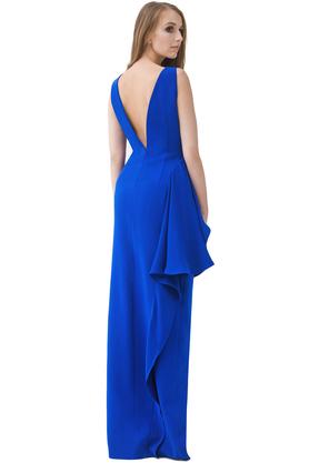 Sukienka z falbaną kobaltowa PROJEKTANT Rina Cossack