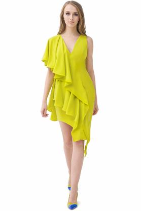 Sukienka z falbanami limonka PROJEKTANT Rina Cossack