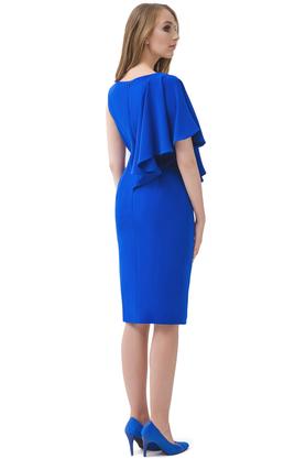 Sukienka z poprzeczną falbaną kobaltowa PROJEKTANT Rina Cossack