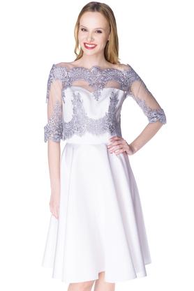 Komplet bolerko koronkowe srebrne i sukienka gorsetowa Arabela biała PROJEKTANT Inspiracja Butik