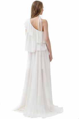 Sukienka długa asymetryczna ecru PROJEKTANT Rina Cossack