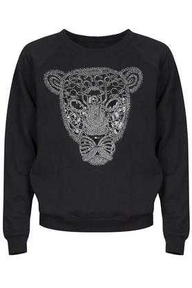 Bluza z tygrysem bez kołnierzyka czarna PROJEKTANT Kasia Miciak