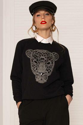 Bluza z tygrysem z kołnierzykiem czarna PROJEKTANT Kasia Miciak