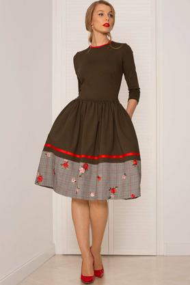 Sukienka rozkloszowana khaki PROJEKTANT Kasia Miciak