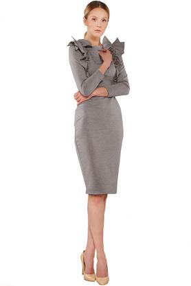 Sukienka z ozdobnym przodem szara PROJEKTANT Yuliya Babich