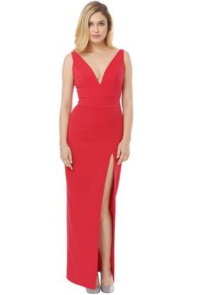 Sukienka Małgorzata z głębokim dekoltem czerwona PROJEKTANT Inspiracja Butik