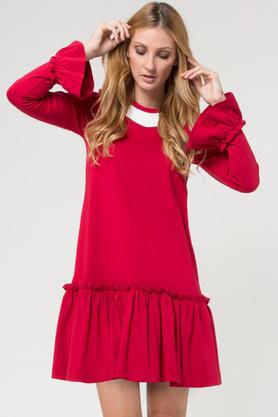 Sukienka falbana czerwona PROJEKTANT Yuliya Babich