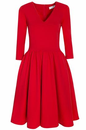 Sukienka rozkloszowana midi czerwień PROJEKTANT Kasia Miciak