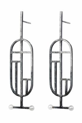 Kolczyki Flappers 11 ciemne srebro PROJEKTANT FROU-FROU