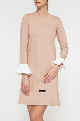 Sukienka falbany beżowa PROJEKTANT Yuliya Babich