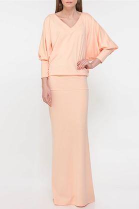 Sukienka nietoperz długa łososiowa PROJEKTANT Yuliya Babich