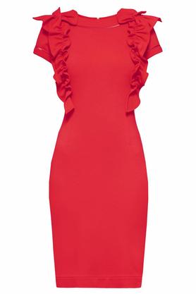 Sukienka z ozdobnym przodem krótki rękaw czerwona PROJEKTANT Yuliya Babich