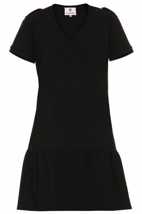 Sukienka z falbaną czarna PROJEKTANT Yuliya Babich