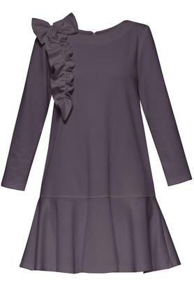 Sukienka z falbaną i aplikacją popielata PROJEKTANT Yuliya Babich