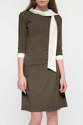 Sukienka z krawatem khaki PROJEKTANT Yuliya Babich