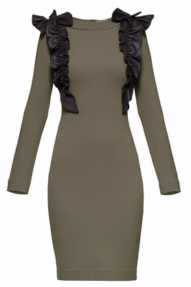 Sukienka z ozdobnym przodem khaki ii PROJEKTANT Yuliya Babich