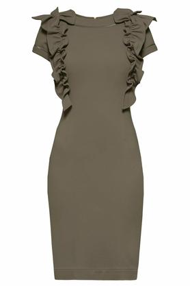 Sukienka z ozdobnym przodem krótki rękaw khaki PROJEKTANT Yuliya Babich