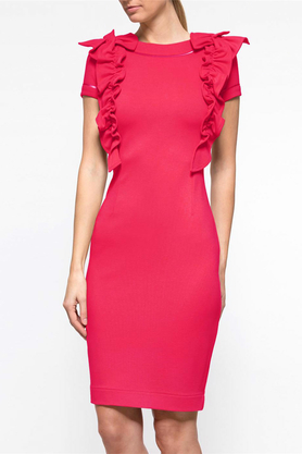 Sukienka z ozdobnym przodem krótki rękaw różowa PROJEKTANT Yuliya Babich