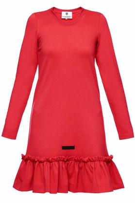 Sukienka czerwona falbana PROJEKTANT Yuliya Babich