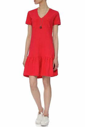 Sukienka z falbaną czerwona PROJEKTANT Yuliya Babich