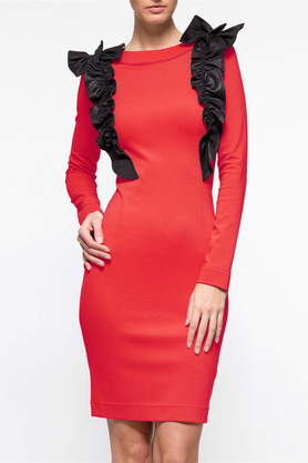 Sukienka z ozdobnym przodem czerwona PROJEKTANT Yuliya Babich