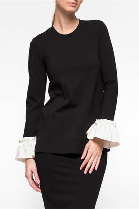 Bluzka falbany czarna PROJEKTANT Yuliya Babich