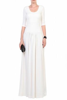 Sukienka odcięta długa ecru PROJEKTANT Yuliya Babich