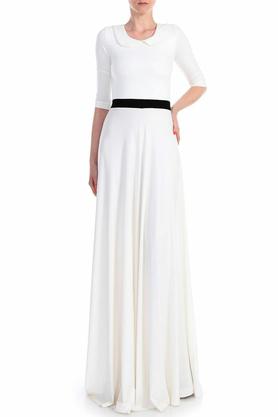 Sukienka długa z kołnierzykiem biała PROJEKTANT Yuliya Babich