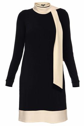 Sukienka trapezowa z krawatem czarna PROJEKTANT Yuliya Babich