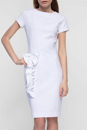 Sukienka z aplikacją biała PROJEKTANT Yuliya Babich