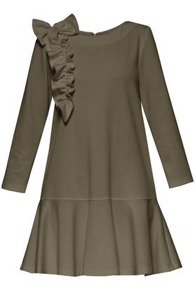 Sukienka z falbaną i aplikacją khaki PROJEKTANT Yuliya Babich