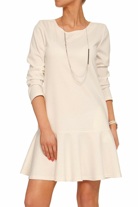 Sukienka z falbanką ecru PROJEKTANT Yuliya Babich