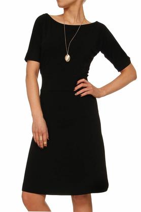 Sukienka z prostymi rękawami czarna PROJEKTANT Yuliya Babich