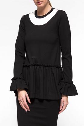 Bluzka falbana czarna PROJEKTANT Yuliya Babich