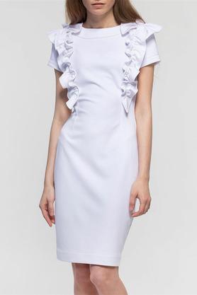 Sukienka z ozdobnym przodem krótki rękaw ecru PROJEKTANT Yuliya Babich