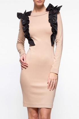 Sukienka z ozdobnym przodem beżowa II PROJEKTANT Yuliya Babich