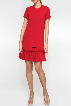 Sukienka z falbaną czerwona II PROJEKTANT Yuliya Babich