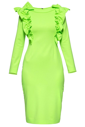 Sukienka z ozdobnym przodem neozielona PROJEKTANT Yuliya Babich