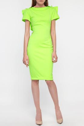 Sukienka z ozdobnym tyłem krótki rękaw neozielona PROJEKTANT Yuliya Babich