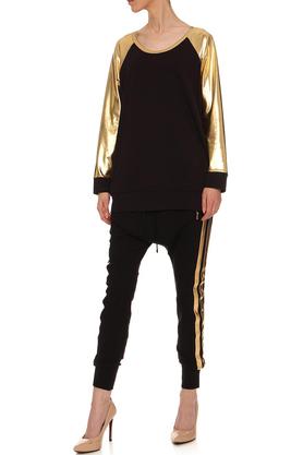 Spodnie z obniżonym krokiem z lampasami czarne PROJEKTANT Yuliya Babich