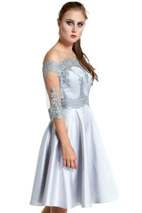 Komplet bolerko koronkowe srebrne i sukienka gorsetowa Arabela szara PROJEKTANT Inspiracja Butik