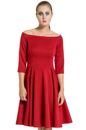 Sukienka łódka czerwona PROJEKTANT Inspiracja Butik