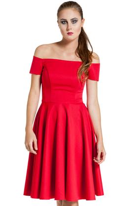 Sukienka łódka gorsetowa czerwona PROJEKTANT Inspiracja Butik